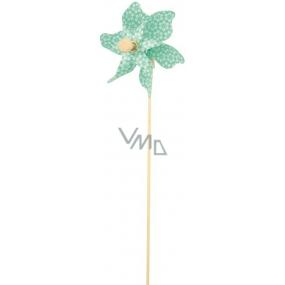 Větrník s kytičkami tyrkysový 9 cm + špejle 1 kus