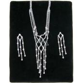 Bižuterie Náhrdelník stříbrný štras s kamínky 38 cm + náušnice 1 pár