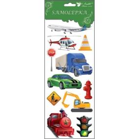 Samolepky dopravní prostředky červená lokomotiva 34,5 x 12,5 cm