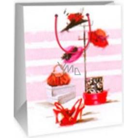 Ditipo Dárková papírová taška velká bílo růžová - klobouky 26,4 x 13,6 x 32,7 cm DAB