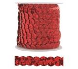 Dekorační flitry červené 5 mm vázané, 3 m