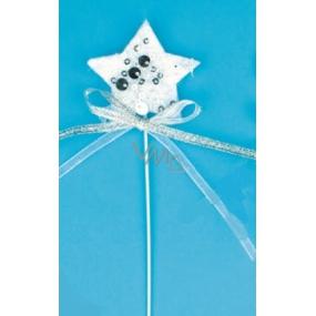 Zápich bílý se stříbrnými flitry Hvězda 5 cm + drátek