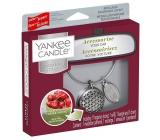 Yankee Candle Black Cherry - Zralé třešně vůně do auta kovová stříbrná visačka Charming Scents set Geometric 13 x 15 cm, 90 g