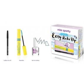 Miss Sporty Studio Lash 3D Volumythic řasenka + Nail Expert Glossy podkladový a vrchní lak na nehty 8 ml + tužka na oči kosmetická sada