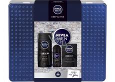 Nivea Men Deep Active sprchový gel 250 ml + voda po holení 100 ml + antiperspirant deodorant roll-on 50 ml + krém 150 ml, kosmetická sada pro muže