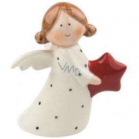 Anděl porcelánový s hvězdou 10 cm na postavení