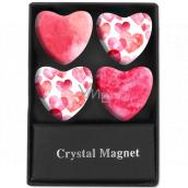 Albi Krystalové magnetky Růžová srdce 4 kusy