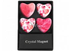 Albi Krystalové magnetky kruhy Růžová srdce 4 kusy