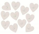 Srdce dřevěné s lepíkem bílé 3 cm, 12 kusů