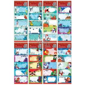 Samolepicí jmenovky na dárky vánoční vyrážené 25,50 x 8 cm 1 arch