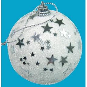 Baňka bílá s hvězdičkami 6 cm
