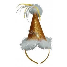 Klobouček s labutěnkou zlatý, čelenka