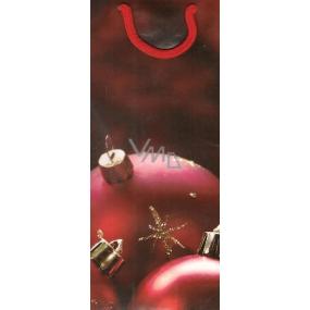 Alvarak Dárková papírová taška na láhev 36 x 12,5 x 9 cm červená baňka 1 kus