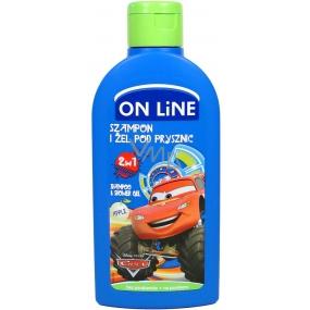On Line Kids Cars Jablko 2v1 sprchový gel a šampon na vlasy pro děti 250 ml