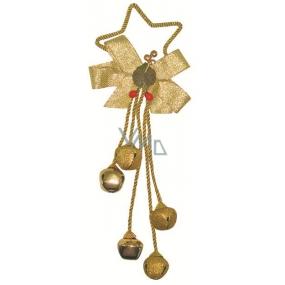 Pět rolniček s dekorem na hvězdě kov zlatá 32 cm