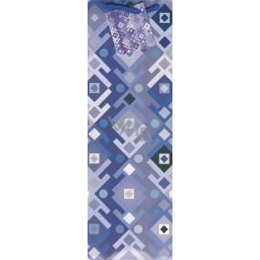 Nekupto Dárková papírová taška na láhev 33 x 10 x 9 cm modro fialová 1024 40 KFLH