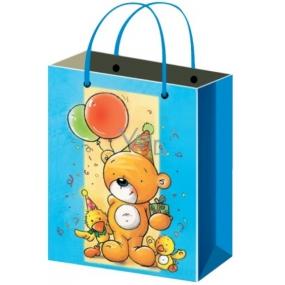 Taška Dárková celoroční pro děti medvídek s balónky M 23 x 18 x 10 cm