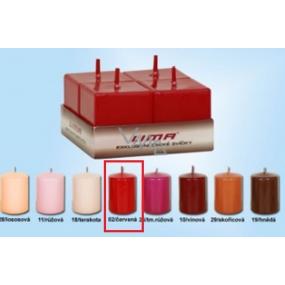 Lima Svíčka hladká červená krychle 45 x 45 mm 4 kusy