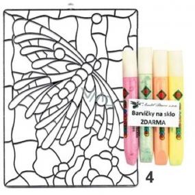 Závěsná sklíčka k vybarvení barvičkami plastová vitráž 4 Motýl