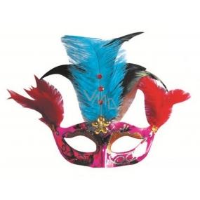 Plesová škraboška fialová s modro-černým peřím 30 cm