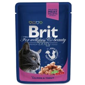 Brit Premium Cat Losos a pstruh v omáčce pro dospělé kočky 100g