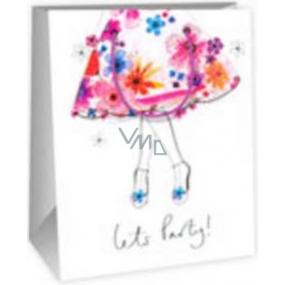 Ditipo Dárková papírová taška střední bílá - květinová sukně 18 x 10 x 22,7 cm DC