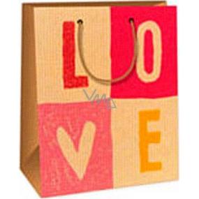 Ditipo Dárková papírová taška 18 x 10 x 22,7 cm růžovo béžová Love