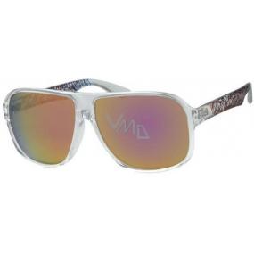 Nac New Age Sluneční brýle průhledná obruba růžová skla A40195