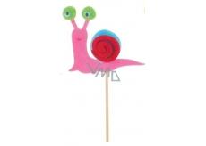 Šnek z filcu barevný růžový zápich 6 cm + špejle