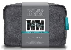 Baylis & Harding Jantar a Santalové dřevo tekuté mýdlo na tělo i vlasy 100 ml + mycí gel na obličej 100 ml + balzám po holení 50 ml + sprchový gel 50 ml + větší šedá toaletní taška kosmetická sada pro muže