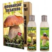 Bohemia Gifts & Cosmetics Houbařské desatero Pro Houbaře sprchový gel 200 ml + šampon 200 ml, kniha kosmetická sada