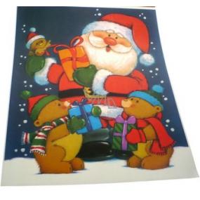 Room Decor Okenní fólie bez lepidla barevná Santa a medvědi 43 x 30 cm