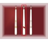 Lima Svatební svíce Červená srdíčka svíčka bílá kužel 22 x 250 mm