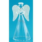 Anděl skleněný s bílými křídly na postavení 9 cm