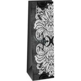 Ditipo Dárková papírová taška na láhev 12,3 x 7,8 x 36,2 cm šedo, černo, bílá velké listy