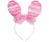 Čelenka uši s peříčkem růžová pruhy 23 cm
