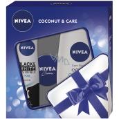 Nivea Black & White Pure antiperspirant sprej pro ženy 150 ml + Coconut & Care sprchový gel 250 ml + Nivea Creme krém 30 ml, kosmetická sada
