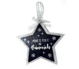 Nekupto Vánoční dřevěná dekorace hvězda Přání se plní o Vánocích 14 x 14 cm