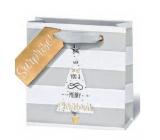BSB Luxusní vánoční dárková papírová taška 14,5 x 15 x 6 cm VDT 428 - CD