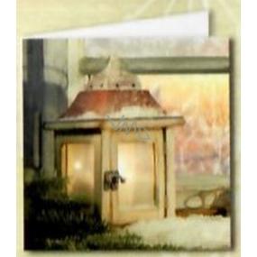 Nekupto Vánoční kartičky na dárky lucerna, okno 6,5 x 6,5 cm 6 kusů