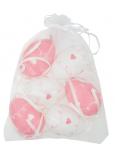 Vajíčka se srdíčky bílá a růžová plastová na zavěšení 6 cm, 6 kusů v organze