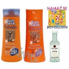 Bohemia Gifts Solsolis Sun Care OF15 opalovací mléko 250 ml, mléko po opalování 250 ml, Bacardi 5 cl