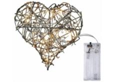 Emos Osvětlení srdce z proutí 20 cm, 10 LED + 30 cm přívodní kabel 1 W teplá bílá