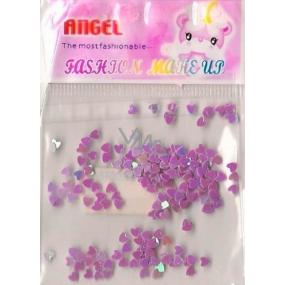 Angel Ozdoby na nehty srdíčka světle fialové 1 balení
