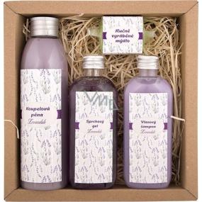 Bohemia Gifts & Cosmetics Spa Lavender koupelová pěna 200 ml + sprchový gel 100 ml + vlasový šampon 100 ml + ručně vyráběné mýdlo 30 g, kosmetická sada