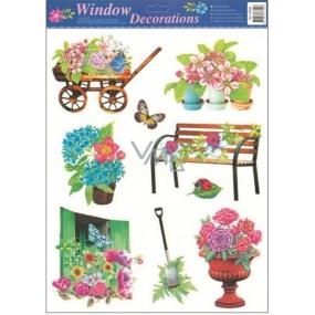 Room Decor Okenní fólie bez lepidla zahrada vozíček s květy 42 x 30 cm