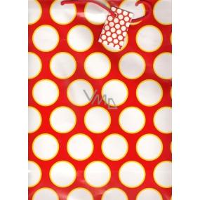 Nekupto Dárková papírová taška velká 32,5 x 26 x 13 cm červená - bílá kolečka 1055 30 BL