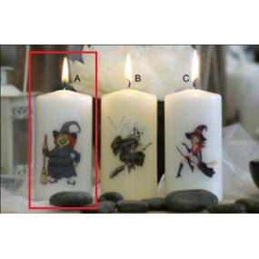 Lima Čarodějnice nazlobená svíčka s potiskem válec bílá 50 x 100 mm 1 kus