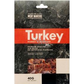 Meat Makers Turkey Jerky Honey & Mustard plátky masa z krůtích prsou konzervované sušením 40 g