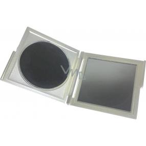 Zrcátko dvojité hranaté stříbrné 7,5 x 8,3 x 0,6 cm 60100